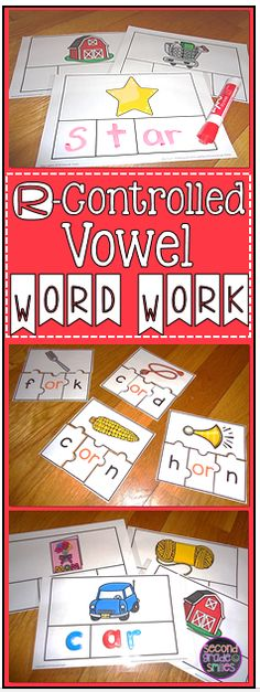 R-Controlled Vowel Word Work Bundle- hands-on word word or center activities for first and second graders $