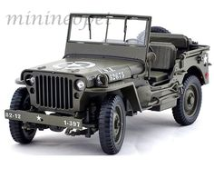 Welly 18036 willys 1/4 ton us army jeep top down 1/18 diecast green