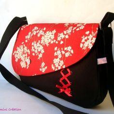 Sac besace, sac à main  tissu japonais Aya rouge