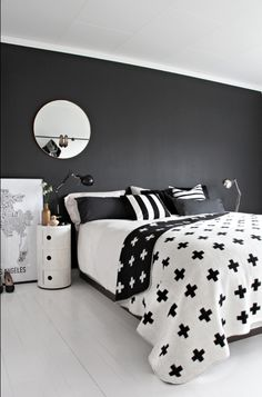 Black And White Bedroom: Componibili, Pia Wallen Cross Blanket, Black Wall