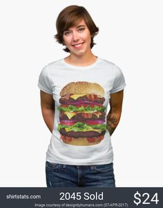 Cheeseburger. It's a huge cheeseburger on a tee, such a bunch of fun! Celebrate the American meal by sporting this hilarious Cheeseburger tee to you local fast food outlet. We love cheeseburgers and you should too with this cool art tee. Are you a foodie? Buy matching tees for everyone you dine with!