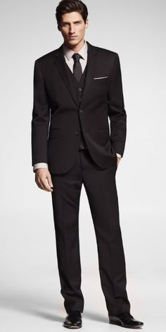Stretch Wool Producer Suit - Black Express for Men