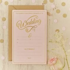 Invite your guest to your special wedding day with these stunning pastel pink and gold foiled wedding invitations. Perfect for the fabulous trend of pastel pink and gold themed weddings. Unique Wedding Stationery, Wedding Reception Invitations, Pink Invitations, Invitation Envelopes, Wedding Stationary, Gold Envelopes, Invites, Gold Wedding Theme, Gold Wedding Decorations