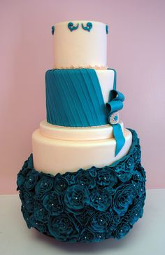 My High (Power) color one word for this cake: Stunning! {Madeline} by Kami Cakes - Couture gown inspired wedding cake. Beautiful Wedding Cakes, Gorgeous Cakes, Pretty Cakes, Amazing Cakes, Elegant Wedding, Crazy Cakes, Fancy Cakes, Round Wedding Cakes, Wedding Desserts