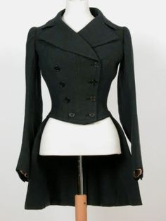 Love! Get me a big black Friesian horse, a side saddle, and this riding habit coat (1880), now!