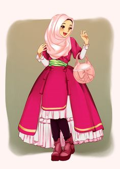 Hijab Drawing Anime Muslimah Cute Art Cartoon Sketches Girl Hadith Ramadan Crafts Kebaya