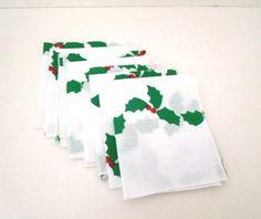 Christmas Holly Napkins 8 Cocktail Napkins white by ReneesRetro #vintage #christmas #napkins #etsy