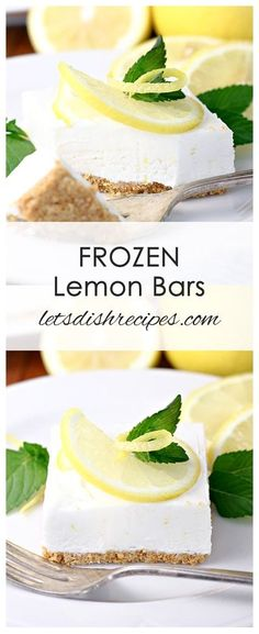 Frozen Lemon Bars: Lemon juice and zest are combined with sweetened condensed milk and whipped cream in this light, refreshing frozen dessert. Mini Desserts, Frozen Desserts, Summer Desserts, Frozen Treats, Weight Watcher Desserts, Lemon Dessert Recipes, Bar Recipes, Lemon Recipes, Sweets Recipes