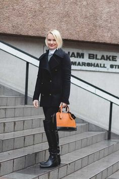 AllSaints coat, Paul Smith shirt, Joseph trousers, Prada boots, Louis Vuitton bag.  Lorraine Candy, Editor-in-Chief. What ELLE Wears to Work, London Street Style.