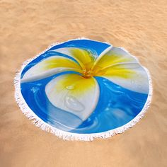 Floating Frangipani - Plumeria Alba Round Beach Towel by Kaye Menner. The beach towel is in diameter and made from polyester fabric.