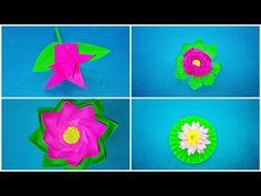 Paper Lotus Flower Making Easy/DIY/Paper Art and Craft/Origami Flower/Ganpati Decoration - YouTube Origami Flowers, Paper Flowers, Diy Paper, Paper Art, Vj Art, Paper Lotus, Flower Making, Lotus Flower, Make It Simple