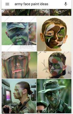 Army face paint Halloween Kids, Halloween Makeup, Happy Halloween, Army Face Paint, Army Makeup, Diy Costumes, Halloween Costumes, Nerf War, Male Face
