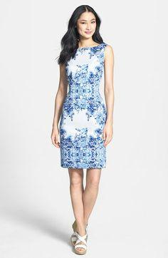Print Stretch Cotton Sheath Dress