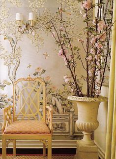 A Hollywood Regency Style Inspired Media Room - exquisite Chinoiserie vignette by Ruthie Sommers