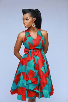 Melia cross back dress(Green) by enagancio - Mid-length Dresses - Afrikrea Best African Dresses, African Fashion Ankara, Latest African Fashion Dresses, African Print Dresses, African Print Fashion, Africa Fashion, African Attire, African Dress Designs, Traditional African Clothing