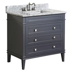 This bathroom vanity set by Kitchen Bath Collection includes a charcoal Gray cabinet with soft close drawers, Italian Carrara marble counter top, single under m 30 Inch Bathroom Vanity, 24 Inch Vanity, Small Bathroom Vanities, Grey Bathrooms, Bathroom Ideas, Downstairs Bathroom, Oak Bathroom, Bathroom Blinds, Neutral Bathroom