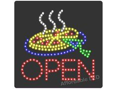 "L6005 - Open Pizza LED Sign (Size 16""H X 16""L X 1""D) Led Open Sign, Open Signs, Open Pizza, Sign Solutions, Sign Maker, Led Neon Signs, How To Attract Customers, Wedding Bands"