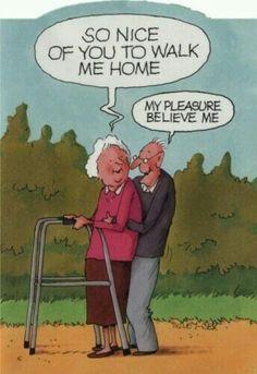 Up close and personal ✅ Cartoon Jokes, Funny Cartoons, Funny Comics, Funny Jokes, Hilarious, Old People Jokes, Funny People, Old Age Humor, Senior Humor
