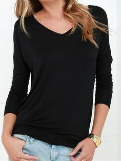 Black Long Sleeve Backless Drape T-shirt