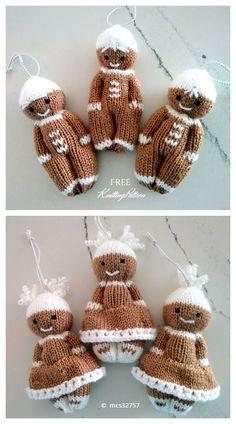 Knitting Dolls Free Patterns, Knitted Dolls Free, Knitting Machine Patterns, Christmas Knitting Patterns, Free Knitting, Loom Knitting, Knitted Christmas Decorations, Gingerbread Man Decorations, Häkelanleitung Baby