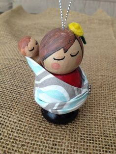 Babywearing pegdoll Ornament by Ohanalee on Etsy