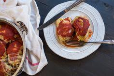 Paleo Cabbage Rolls - Ingredients: green cabbage 1lbgrassfed ground beef 1lblean ground porkor chicken or turkey 1tbspcoconut oil 1⁄2white oniondiced finely 1 1⁄2cupscauliflowerriced 1⁄2tspgarlic powder 1⁄2tspsea salt 1tspblack pepper 8ozcrushed tomatoes 4oztomato sauce