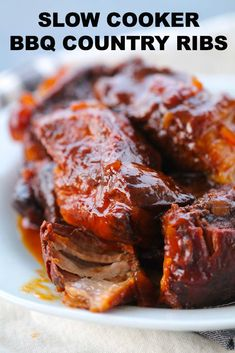 With boneless, country style ribs, liquid smoke, brown sugar, onion and bbq Slow Cooking, Slow Cooked Meals, Crock Pot Slow Cooker, Slow Cooker Ribs Easy, Slow Cooker Boneless Ribs Recipe, Country Ribs Slow Cooker, Cooking Ribs, Country Cooking Recipes, Beef Ribs Recipe