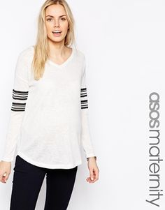 ASOS Maternity V Neck Top With Stripe Sleeve