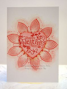Doily Valentine-Whisper White cardstock embossed with Hello, Doily in white. Shaded with Primrose Petals ink and sponge. The heart is on Pink Pirouette with the sentiment from You Are Loved and then cut with the new Hearts a Flutter framelits die.