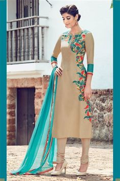 Cream Cotton Salwar Kameez with Embroidery