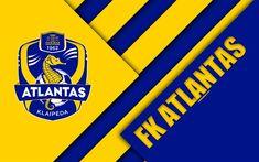 Download wallpapers FK Atlantas, 4k, logo, Lithuanian football club, blue yellow abstraction, material design, A Lyga, Klaipeda, Lithuania, football, Atlantas FC