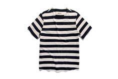 Taylor Stitch Heavy Bag tee in natural & navy stripe Taylor Stitch, Navy Stripes, Good News, Gq, Gentleman, Menswear, Tees, Natural, Mens Tops