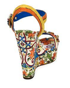 amp; Print Gabbana Platform Tile Sandal Dolce Embellished 1SdHw1q
