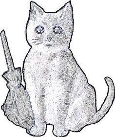 Halloween black kitten pattern