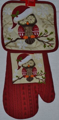 2 pc~Potholder~Oven Mitt~Christmas Owl~Happy Holiday~Red~Holly~Kitchen~Gift~NEW #Doesnotapply