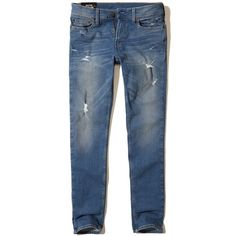 Hollister Skinny Jeans (€56) ❤ liked on Polyvore featuring men's fashion, men's clothing, men's jeans, ripped medium wash, mens torn jeans, mens faded jeans, mens destroyed jeans, mens distressed jeans and mens ripped jeans