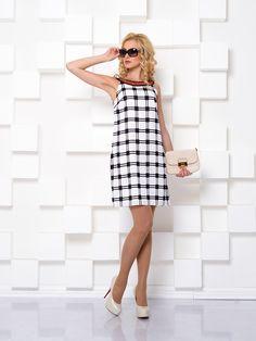 Платье бело-черное в оригинальную клетку - I.Klairie, акция действует до 3 апреля 2015 года | LeBoutique - Коллекция брендовых вещей от I.Klairie