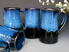 Set of 4 Tall Mugs Ceramic Coffee Mug by darshanpottery on Etsy, $88.00