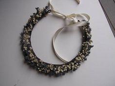 Baby's Breath and Lavender Bridal Hair Crown Boho Bridal