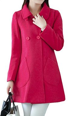dce316101141 Fulok Womens Notched Lapel Double Breasted Wool Long Pea Coat Overcoat Rose  Red XS