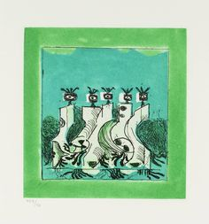 Graham Sutherland OM, '7. Orpheus' 1978-9 -  From The Bestiary or the Procession of Orpheus - Etching and aquatint on paper.