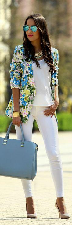 Floral + blazer.