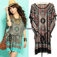 2014 Summer Fashion bohemian Casual Dresses Women's Plus Size Ice Silk Dress