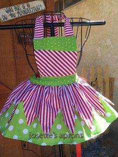 peppermint Christmas childs aprons by Josettesaprons on Etsy
