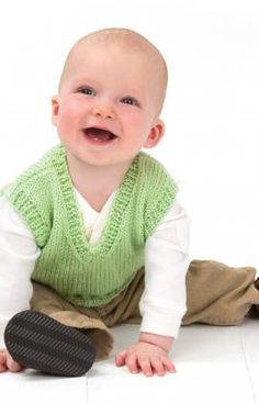 Vested Baby Boy Free Knitting Pattern from Red Heart Yarns