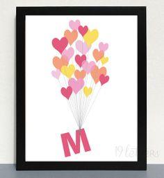 Nursery Alphabet Print 'Heart Balloons' 5x7 CUSTOM