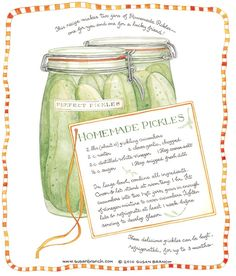 Homemade Pickles, Susan Branch for Country Living Magazine Old Recipes, Canning Recipes, Vintage Recipes, Chef Recipes, Detox Recipes, Delicious Recipes, How To Make Homemade, Food To Make, Branch Art