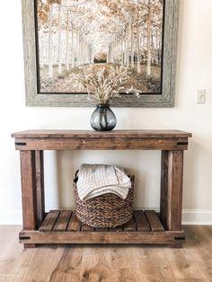 Decor, Entry Table, Farmhouse Living Room Furniture, Rustic Entry Table, Rustic Sofa, Diy Entryway Table, Table Decor Living Room, Table, Sofa Table Decor