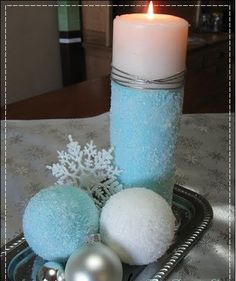 14 DIY Ideas for Candle Holder - 6.Epsom Salt Ornaments and Candle - Diy & Crafts Ideas Magazine