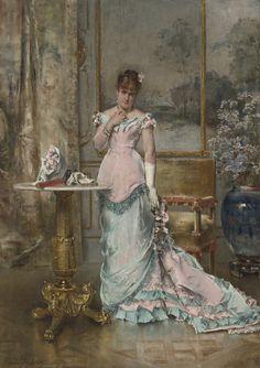ALFRED STEVENS (BELGIAN, 1823 - 1906)  L'ATTENTE (AVANT LE BAL)  signed Alfred Stevens. (lower left)  oil on panel, 74.9 x 52.7 cm
